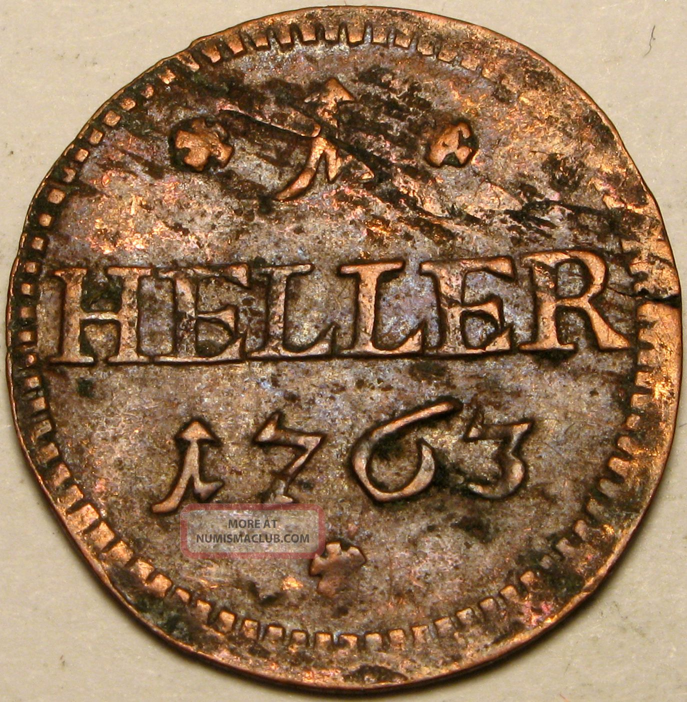 Saxe - Hildburghausen (german) 1 Heller 1763 - Copper - Ernst Friedrich Iii.  Carl - 2 Germany photo