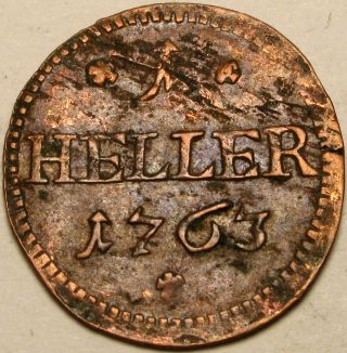 Saxe - Hildburghausen (german) 1 Heller 1763 - Copper - Ernst Friedrich Iii.  Carl - 2 photo