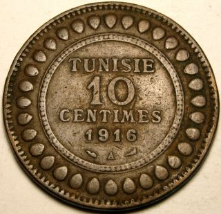 Tunisia (french Protectorate) 10 Centimes Ah 1334 / Ad 1916 A - Copper photo