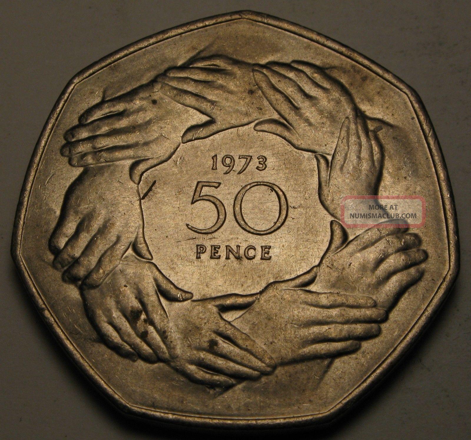 Great Britain 50 Pence 1973 - Copper/nickel - Britain ' S Entry Into E.  E.  C - Vf/xf UK (Great Britain) photo
