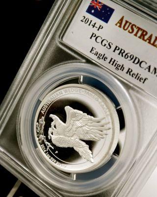 2014 1 Oz Silver Australia Wedge Tailed Eagle High Relief Pcgs Pr69 Mercanti photo