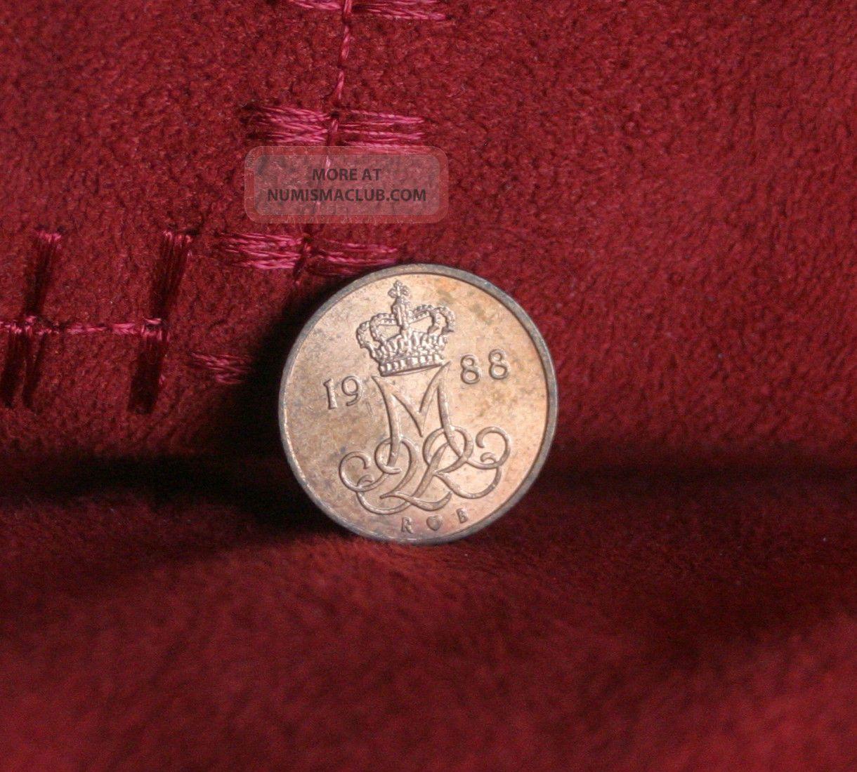 1988 Denmark 5 Ore Copper World Coin Km859.  3 Crowned Miir Monogram Margrethe Ii Europe photo