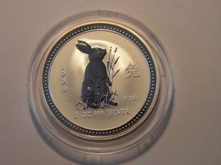 Australia 2 Oz.  999 Silver Lunar Coin Rabbit 1999 1st Series Low Mintage photo