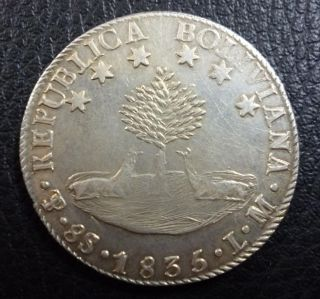 Bolivia Silver Coin 8 Soles,  Km97 Xf - 1835 L.  M. photo