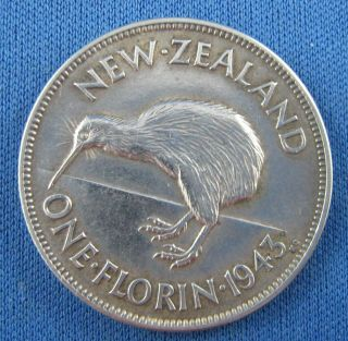 Outstanding Zealand 1943 One Florin Silver Coin photo
