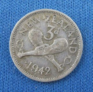 1942 Zealand One Dot 3 Pence Pre - Decimal Silver Coin photo