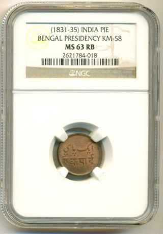 India Bengal Presidency (1831 - 35) Pie Km - 58 Ms63 Rb Ngc photo