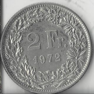 1972 Swiss 2 Francs.  Circulated,  Au.  Coin. photo