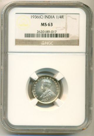 India Silver 1936 (c) 1/4 Rupee Ms63 Ngc photo