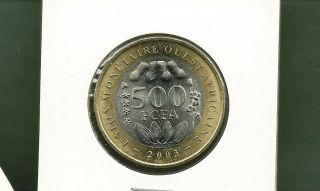 West African States 2003 500 Francs Bi - Metallic Unc Coin photo