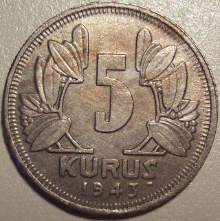 1943 Turkey 5 Kurus photo