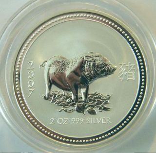Australia 2 Oz.  999 Silver Lunar Coin Pig Boar 2007 1st Series Low Mintage photo