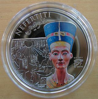 Nefertiti Bust Silver Proof Coin 2013 $5 Cook Islands photo