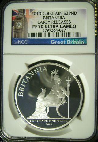 2013 Great Britain S2pnd £2 1 Oz.  Silver Britannia Proof - Ngc Pf70ucam Er photo
