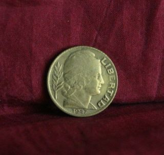 1947 Argentina 5 Centavos Aluminum - Bronze World Coin Liberty Cap Km40 photo