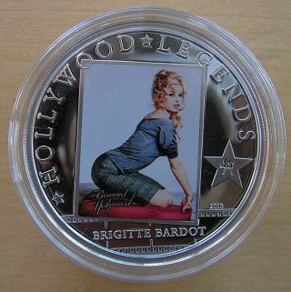 Brigitte Bardot Silver Proof Coin Hollywood Legends 2013 $5 Cook Islands photo