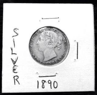 Silver 1890 Foundland 20 Cents Coin photo