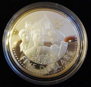 2006 Silver & Gold Proof Fiji $5 Crown Coin + The Queens 80th Birthday photo
