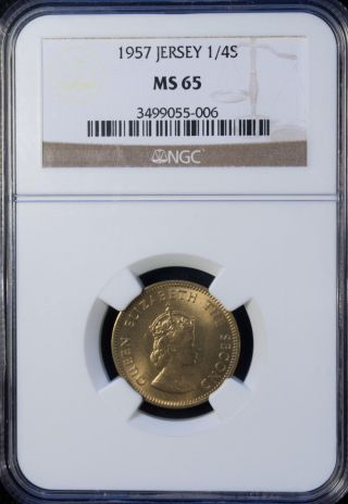 1957 Jersey 1/4 Shilling Ngc Unc Ms 65 Unc photo