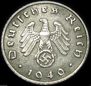 German Third Reich - 1940f - 5 Reichspfennig - Real World War 2 Coin S&h Discounts photo