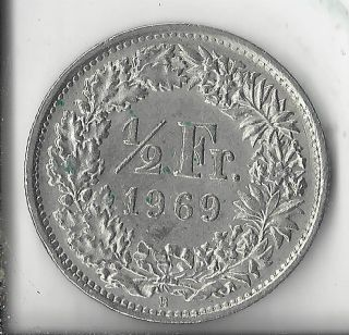 Switzerland 1969 - B 1/2 Francs.  Circulated. photo