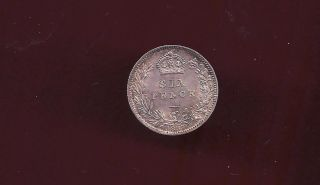 Great Britain Uk 1887 Sixpence Silver Unc Coin photo