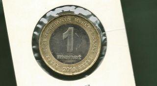 Turkmenistan 2010 1 Manat Bi - Metallic Unc Coin photo