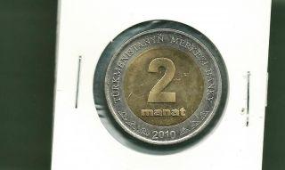 Turkmenistan 2010 2 Manat Bi - Metallic Unc Coin photo