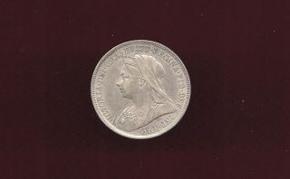 Great Britain Uk 1899 One Shilling Silver Unc Coin photo