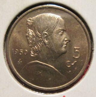 1950 M 5 Centavos Bu Coin photo