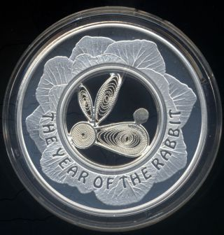 Fiji 2011 $1 Lunar Year Of The Rabbit Cabbage Filigree Silver Proof Coin Box photo