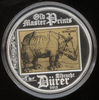 Cook Islands 2013 Rhinoceros Albrecht Durer $5 Silver Proof Old Master Prints photo