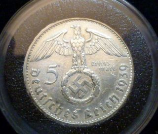 Extremely Rare 1939 German 5 Mark Silver Coin With Swastika And C.  O.  A. photo