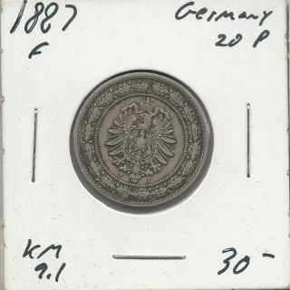 1887 - F 20 Pfennig - - Au - - German Empire photo
