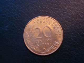 One 1978 France 20 Centimes Coin Km 930 photo