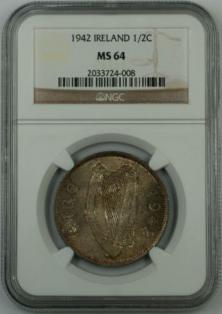 1942 Ireland 1/2c Half Crown Silver Coin,  Ngc Ms - 64,  Toned photo