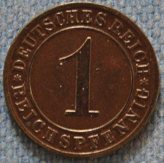 Germany,  1 Reichspfennig 1925 A Good Grade,  Weimar Republic,  Golden Era photo