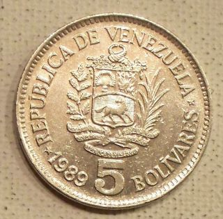Venezuela 1989 5 Bolivares Coin photo