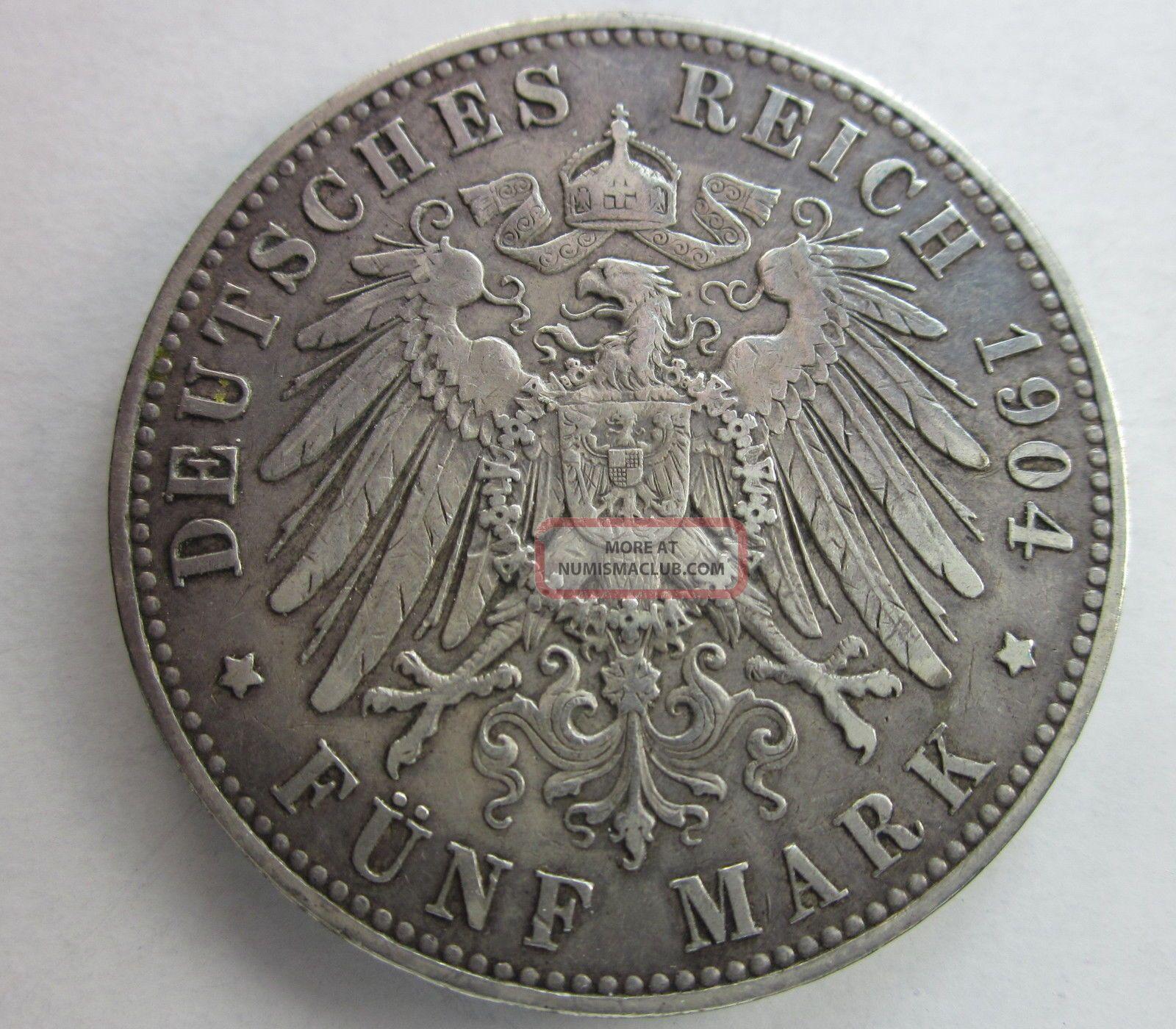 Prussia Silver 5 Mark 1904a