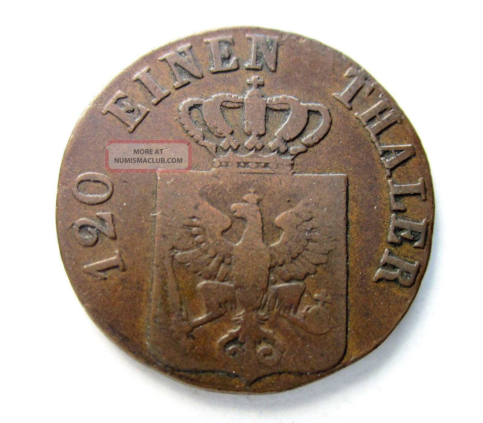 Prussia Copper 3 Pfennig 1828a Germany photo