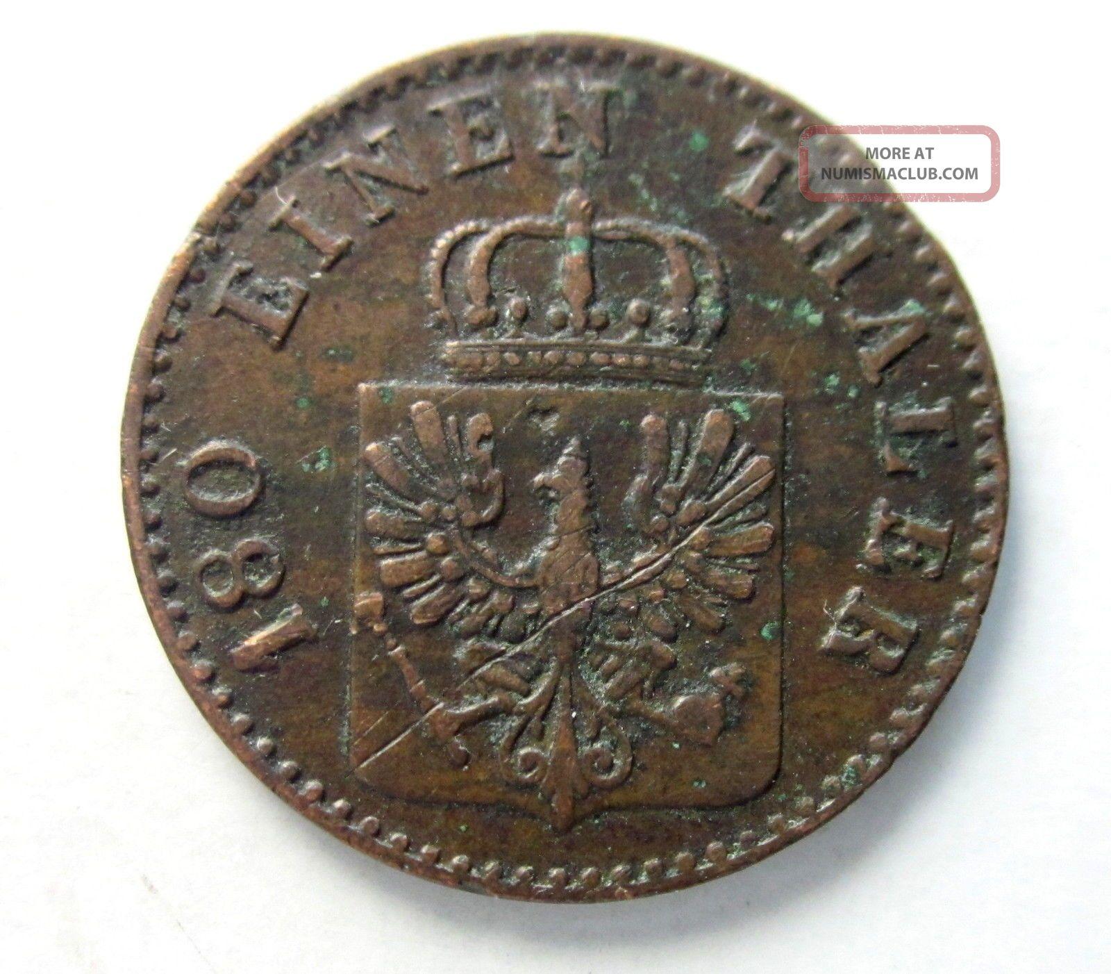 Prussia Copper 2 Pfennig 1856a Germany photo