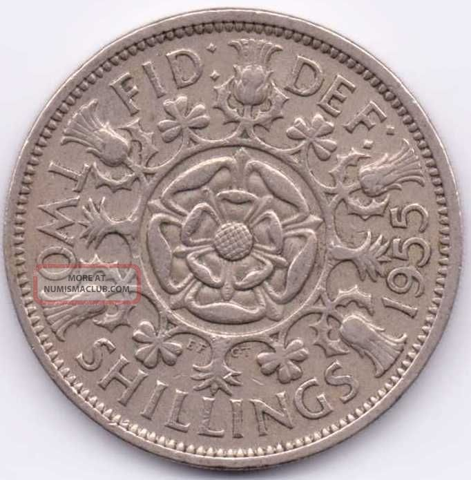 1955 Great Britain (uk) Florin That Is Extra Fine. . UK (Great Britain) photo