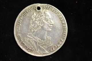 Peter I (the Great) 1724 Silver Rouble R1,  Bitkin 953,  Diakov 27,  Petrov (3 Rub) photo