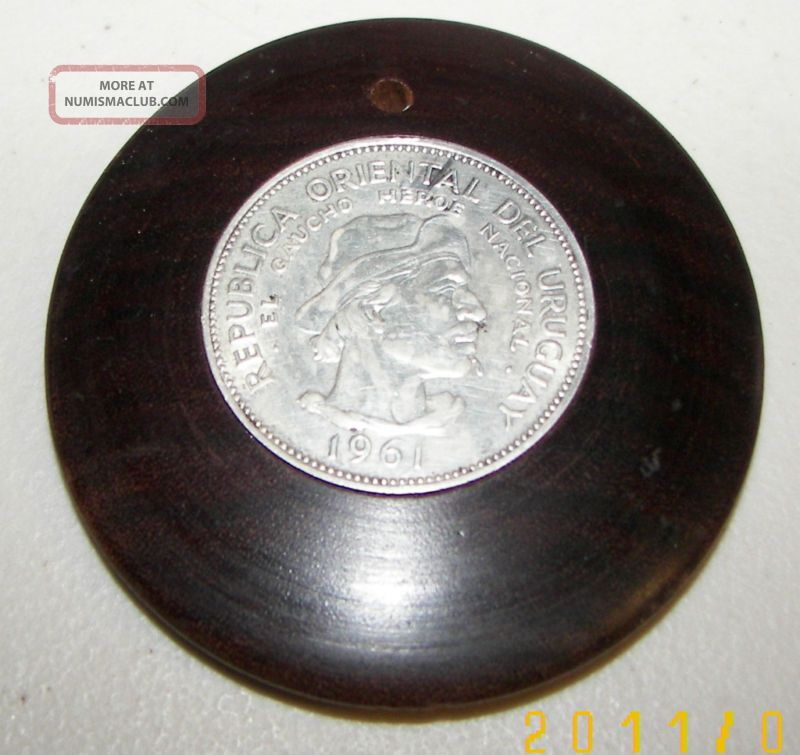 10 Pesos 1961 Uruguay Silver Coin Mounted As Necklace South America photo