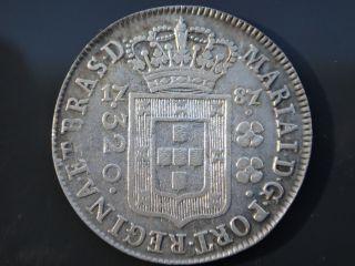 Brazil 1787 Silver Coin 320 Reis High Crown D.  Maria I Rare 220 Years Coin photo