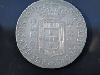 Brazil 1787 Silver Coin 320 Reis High Crown D.  Maria I Very Rare photo