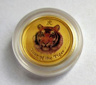 2010 1/20 Oz Gold Colorized Color Colour Australia Gold Lunar Year Tiger Coin photo