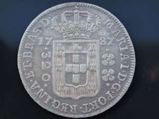 Brazil 1787 Silver Coin 320 Reis Low Crown D.  Maria I Very Rare photo