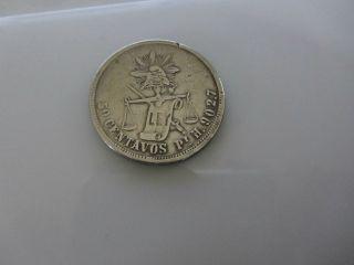 1883 Republica Mexicana 50 Centavos Silver Coin H.  902.  7 Sharp photo