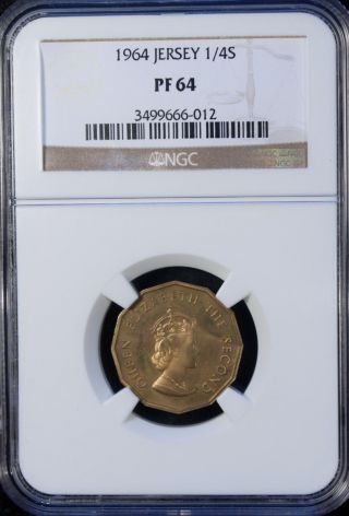 1964 Jersey 1/4 Shilling Ngc Unc Pf 64 Unc photo